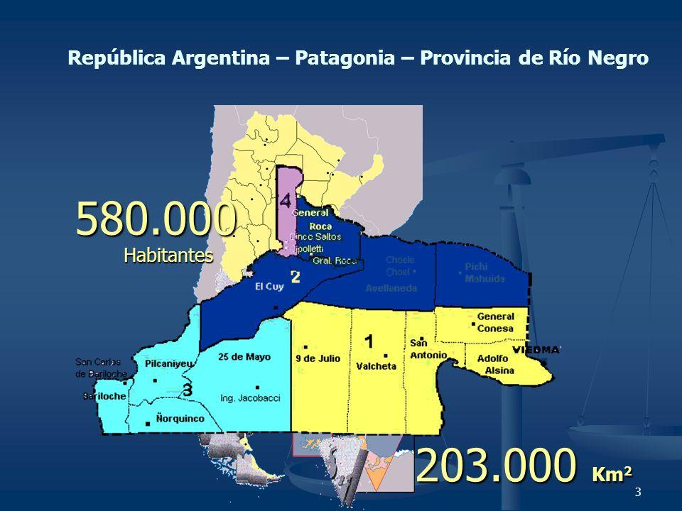 3 República Argentina – Patagonia – Provincia de Río Negro 203.000 Km 2 580.000 Habitantes