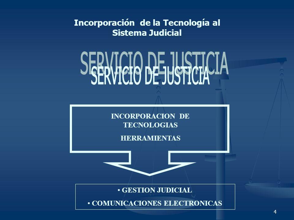 4 Incorporación de la Tecnología al Sistema Judicial Año 2000 INCORPORACION DE TECNOLOGIAS HERRAMIENTAS GESTION JUDICIAL COMUNICACIONES ELECTRONICAS