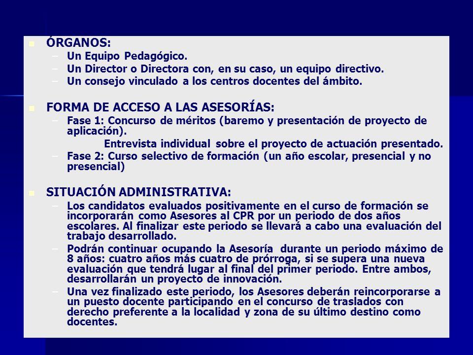 ÓRGANOS: – –Un Equipo Pedagógico.– –Un Director o Directora con, en su caso, un equipo directivo.