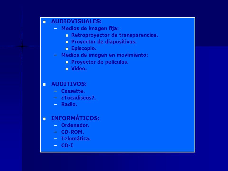 AUDIOVISUALES: – –Medios de imagen fija: Retroproyector de transparencias.