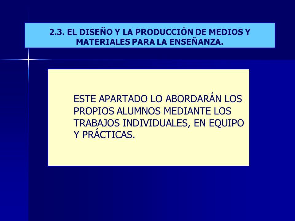 2.3.EL DISEÑO Y LA PRODUCCIÓN DE MEDIOS Y MATERIALES PARA LA ENSEÑANZA.