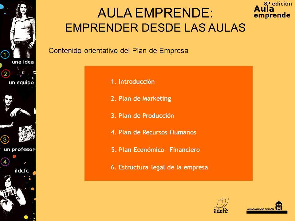 8ª edición Aula emprende AULA EMPRENDE: EMPRENDER DESDE LAS AULAS Contenido orientativo del Plan de Empresa 1. Introducción 2. Plan de Marketing 3. Pl