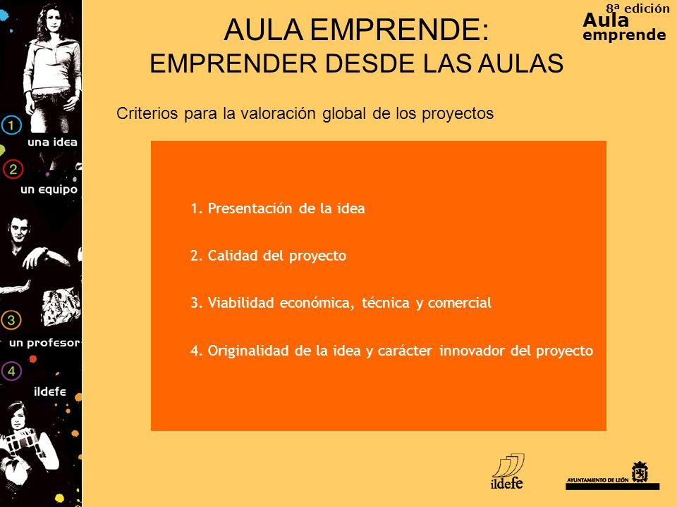 8ª edición Aula emprende AULA EMPRENDE: EMPRENDER DESDE LAS AULAS Criterios para la valoración global de los proyectos 1. Presentación de la idea 2. C