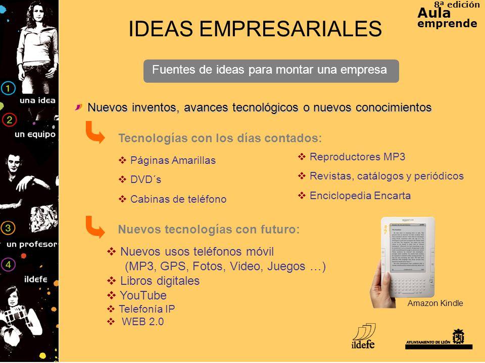 8ª edición Aula emprende IDEAS EMPRESARIALES Fuentes de ideas para montar una empresa Tecnologías con los días contados: Nuevos inventos, avances tecn