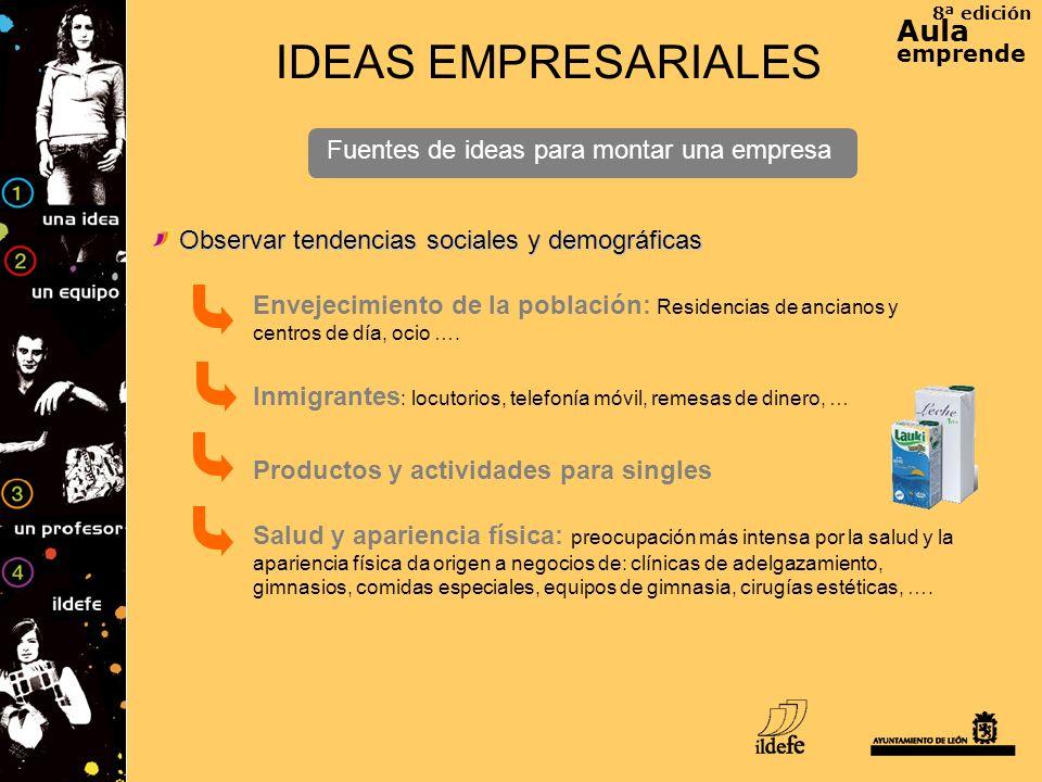 8ª edición Aula emprende IDEAS EMPRESARIALES Fuentes de ideas para montar una empresa Envejecimiento de la población: Residencias de ancianos y centro