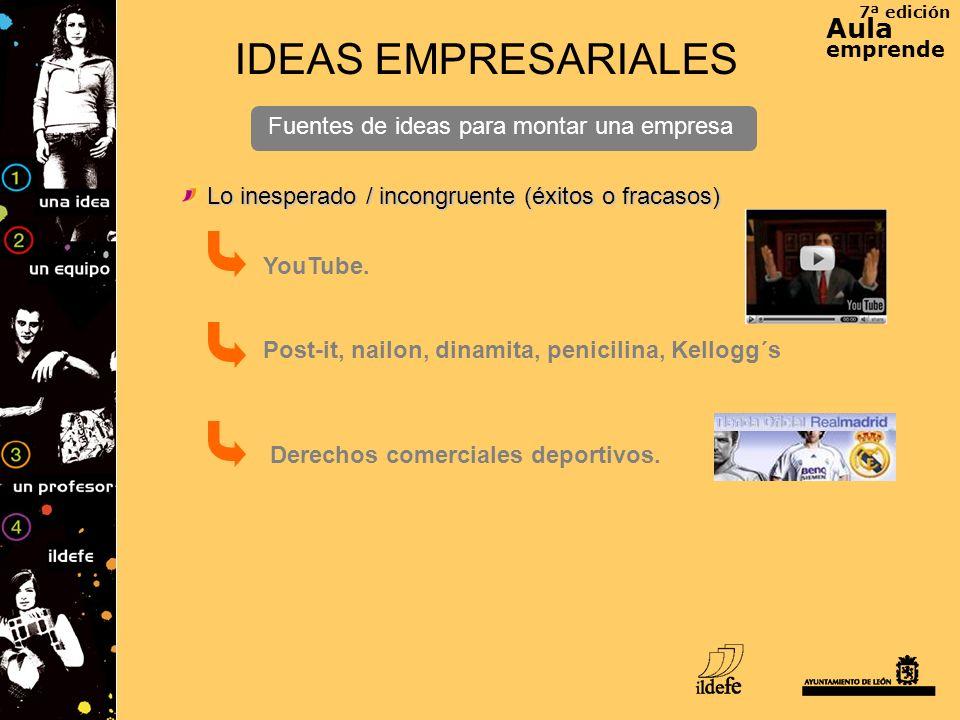 7ª edición Aula emprende IDEAS EMPRESARIALES Fuentes de ideas para montar una empresa Lo inesperado / incongruente (éxitos o fracasos) YouTube. Post-i