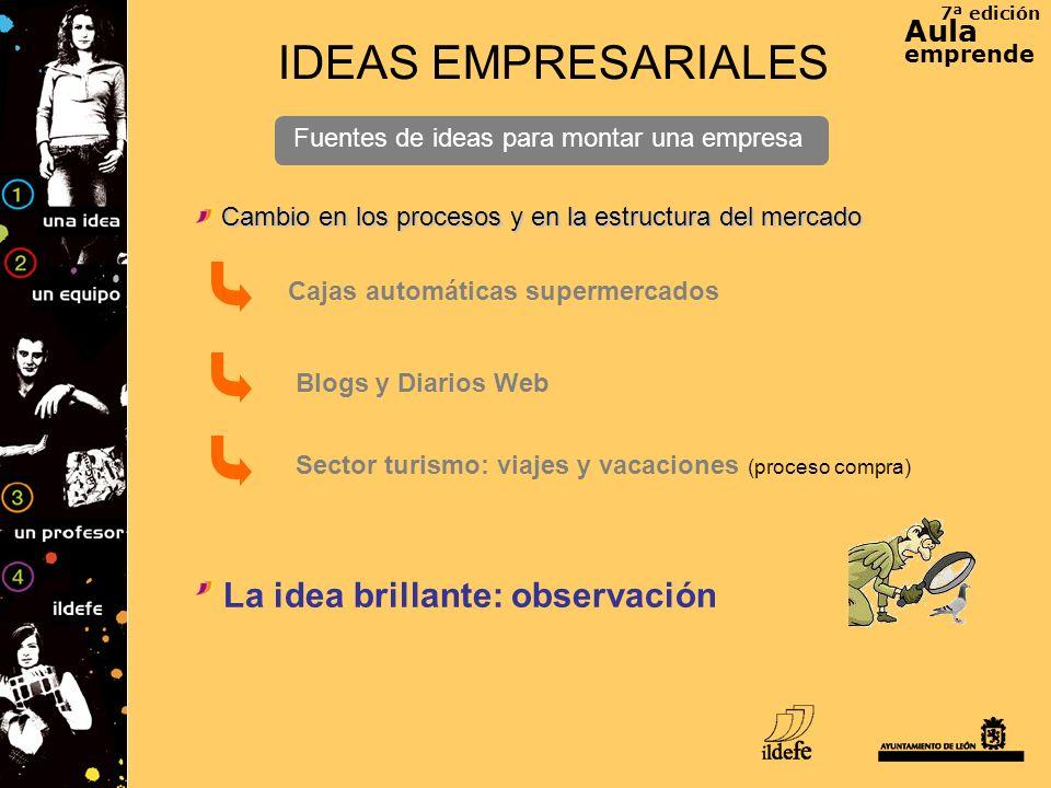 7ª edición Aula emprende IDEAS EMPRESARIALES Fuentes de ideas para montar una empresa Cambio en los procesos y en la estructura del mercado Blogs y Di