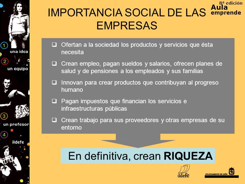 8ª edición Aula emprende IMPORTANCIA SOCIAL DE LAS EMPRESAS En definitiva, crean RIQUEZA Ofertan a la sociedad los productos y servicios que ésta nece