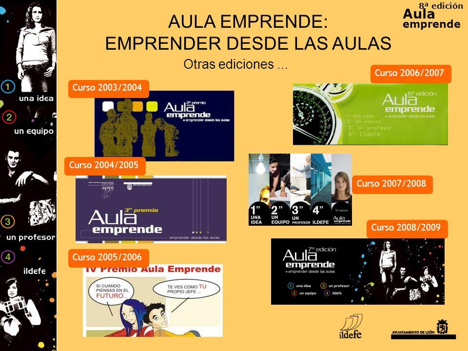 8ª edición Aula emprende AULA EMPRENDE: EMPRENDER DESDE LAS AULAS Otras ediciones … Curso 2003/2004 Curso 2005/2006 Curso 2006/2007 Curso 2004/2005 Cu