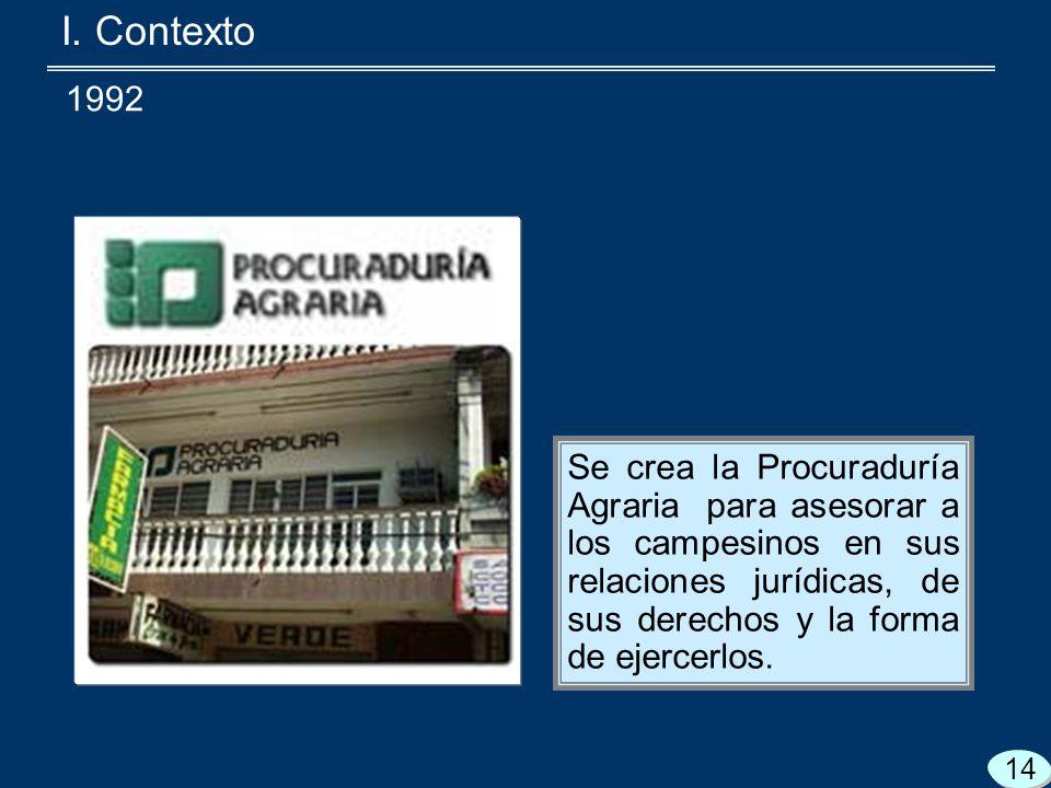 Se crea la Procuraduría Agraria para asesorar a los campesinos en sus relaciones jurídicas, de sus derechos y la forma de ejercerlos.