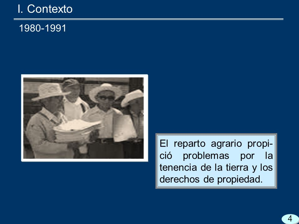El reparto agrario propi- ció problemas por la tenencia de la tierra y los derechos de propiedad.