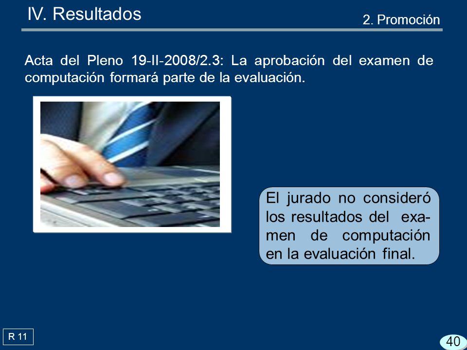 R 11 Acta del Pleno 19-II-2008/2.3: La aprobación del examen de computación formará parte de la evaluación.