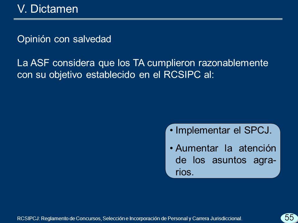 Opinión con salvedad La ASF considera que los TA cumplieron razonablemente con su objetivo establecido en el RCSIPC al: Implementar el SPCJ.