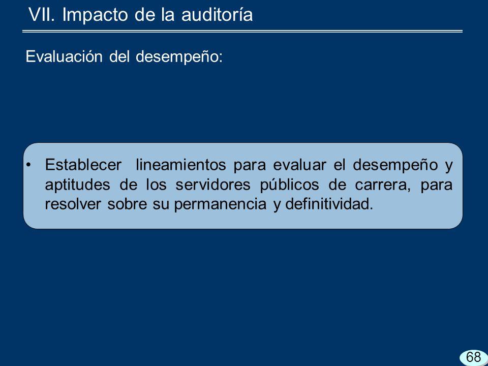 VII. Impacto de la auditoría Establecer lineamientos para evaluar el desempeño y aptitudes de los servidores públicos de carrera, para resolver sobre