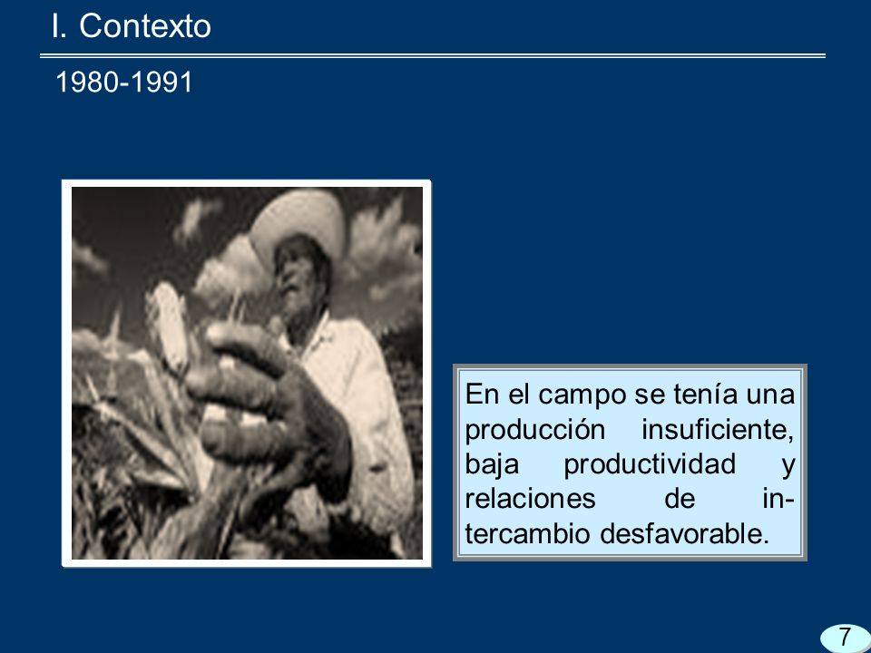 I. Contexto En el campo se tenía una producción insuficiente, baja productividad y relaciones de in- tercambio desfavorable. 7 1980-1991