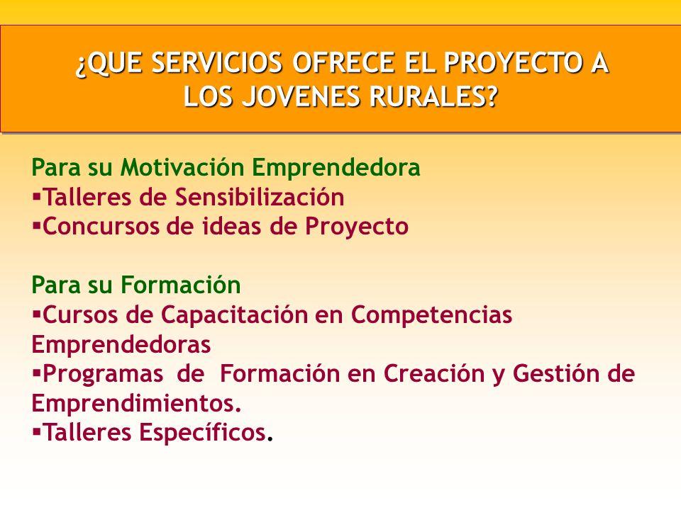 ¿QUE SERVICIOS OFRECE EL PROYECTO A LOS JOVENES RURALES.