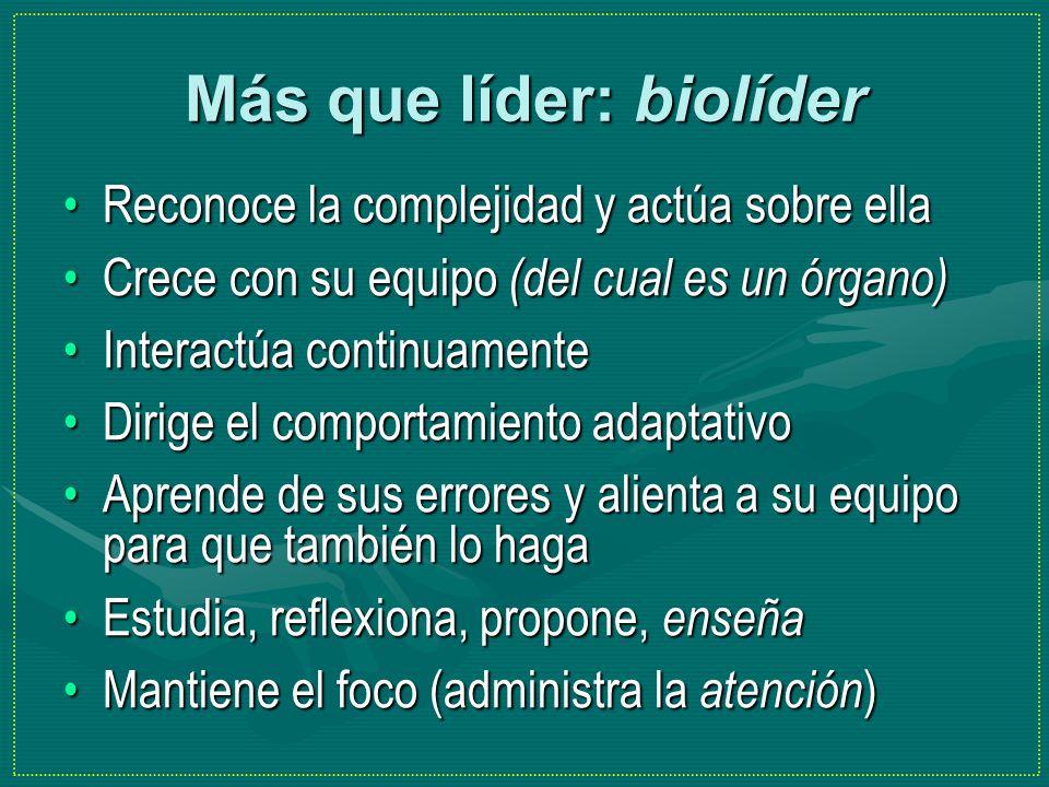 Más que líder: biolíder Reconoce la complejidad y actúa sobre ellaReconoce la complejidad y actúa sobre ella Crece con su equipo (del cual es un órgan