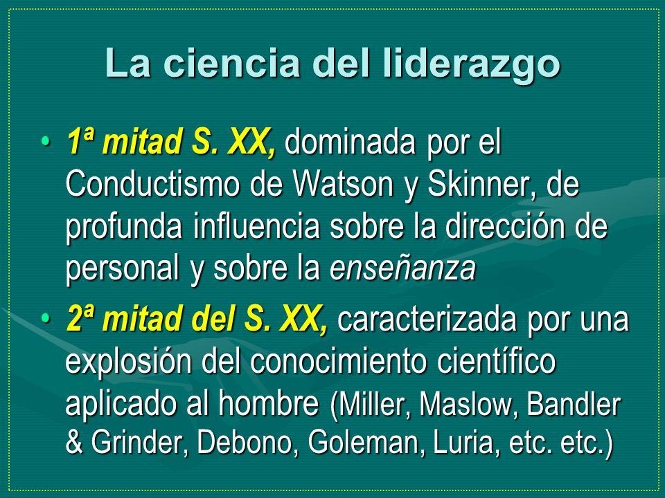 La ciencia del liderazgo 1ª mitad S. XX, dominada por el Conductismo de Watson y Skinner, de profunda influencia sobre la dirección de personal y sobr