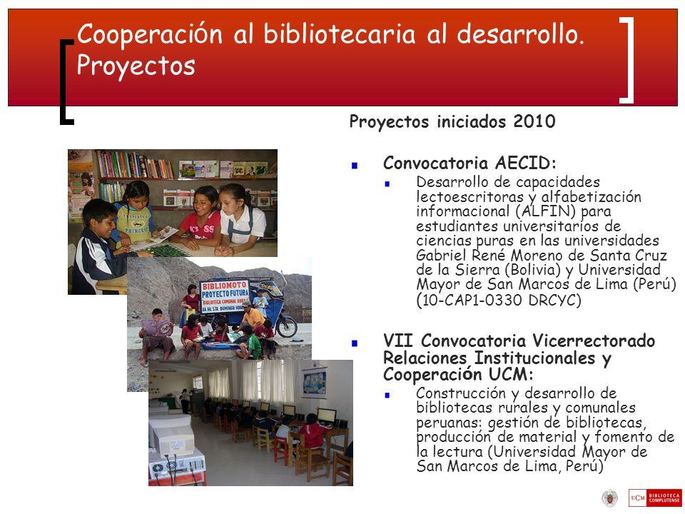 Cooperaci ó n al bibliotecaria al desarrollo.