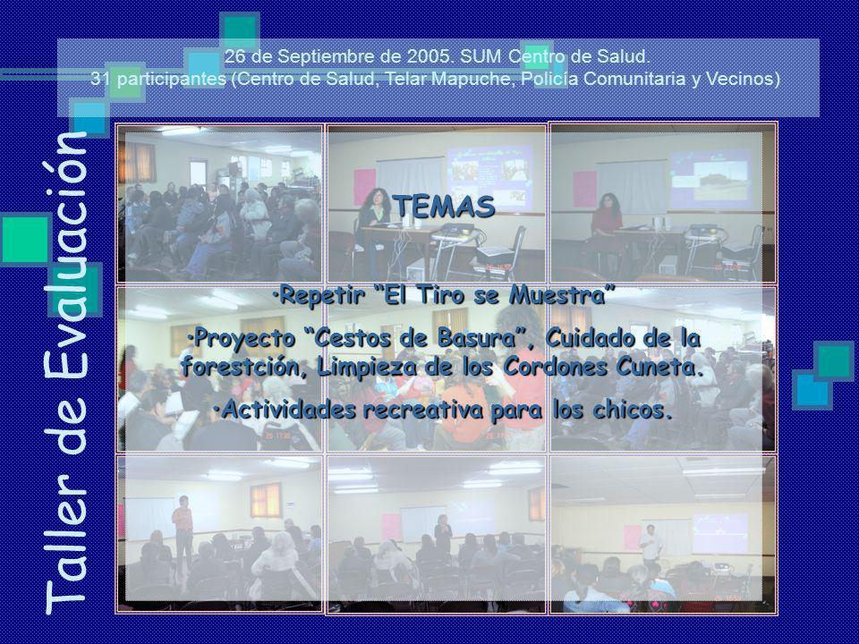 Taller de Evaluación 26 de Septiembre de 2005. SUM Centro de Salud. 31 participantes (Centro de Salud, Telar Mapuche, Policía Comunitaria y Vecinos) T