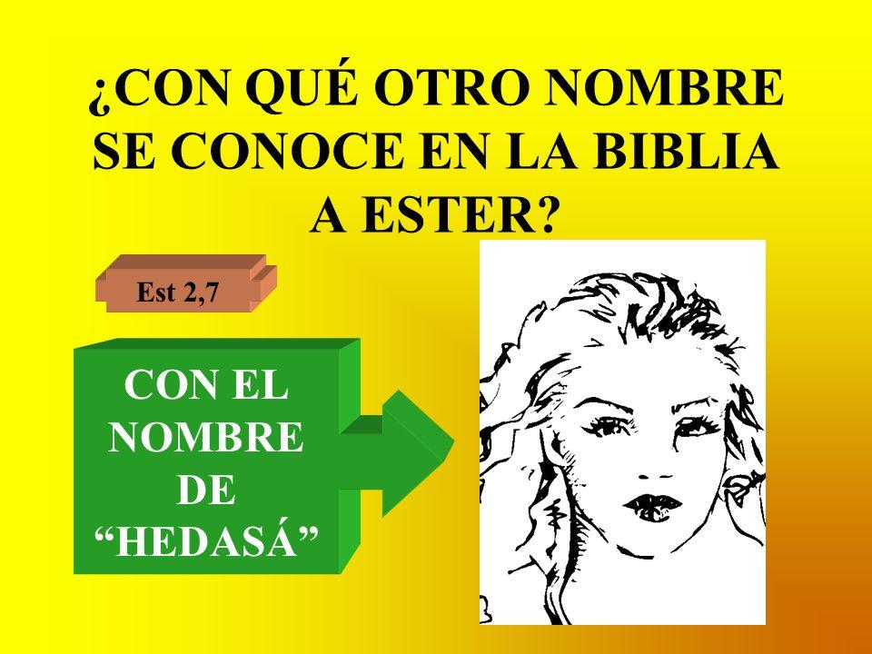 ¿CON QUÉ OTRO NOMBRE SE CONOCE EN LA BIBLIA A ESTER? Est 2,7 CON EL NOMBRE DE HEDASÁ