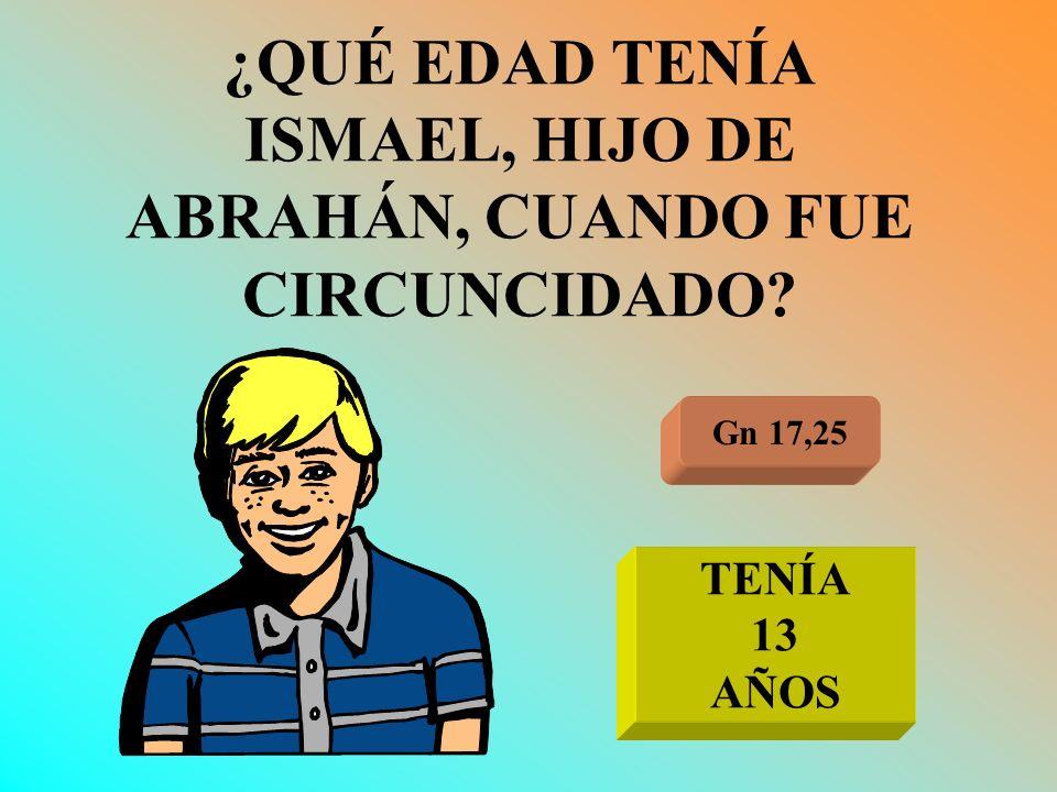 ¿QUÉ EDAD TENÍA ISMAEL, HIJO DE ABRAHÁN, CUANDO FUE CIRCUNCIDADO? Gn 17,25 TENÍA 13 AÑOS
