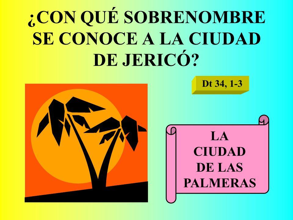 ¿CON QUÉ SOBRENOMBRE SE CONOCE A LA CIUDAD DE JERICÓ? Dt 34, 1-3 LA CIUDAD DE LAS PALMERAS