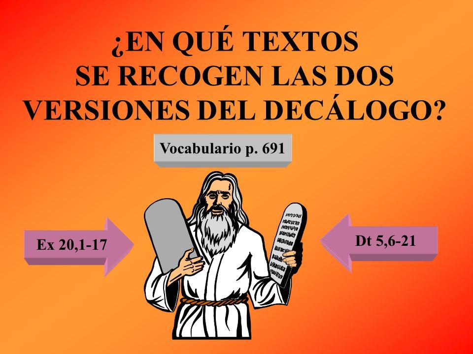 ¿EN QUÉ TEXTOS SE RECOGEN LAS DOS VERSIONES DEL DECÁLOGO? Vocabulario p. 691 Ex 20,1-17 Dt 5,6-21