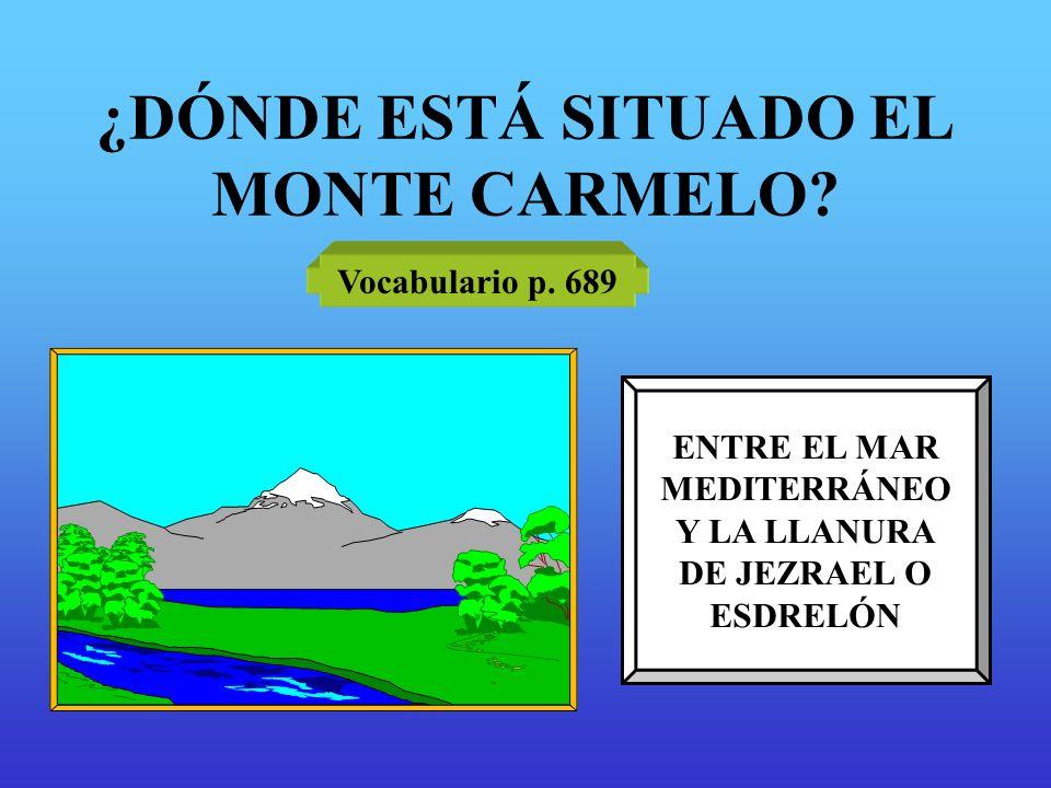 ¿DÓNDE ESTÁ SITUADO EL MONTE CARMELO? Vocabulario p. 689 ENTRE EL MAR MEDITERRÁNEO Y LA LLANURA DE JEZRAEL O ESDRELÓN