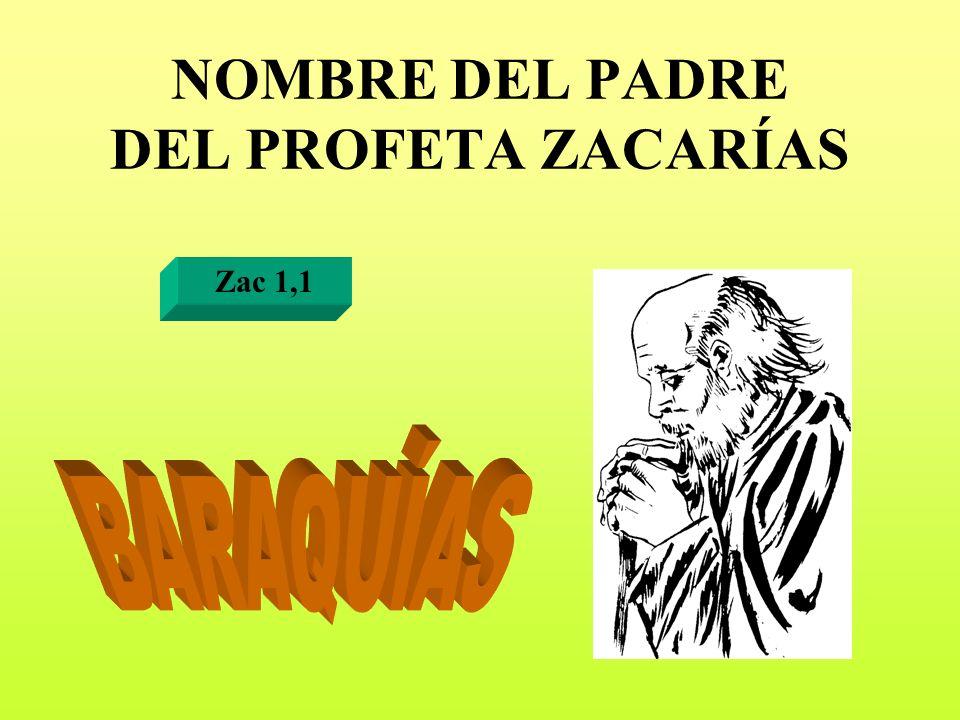 NOMBRE DEL PADRE DEL PROFETA ZACARÍAS Zac 1,1
