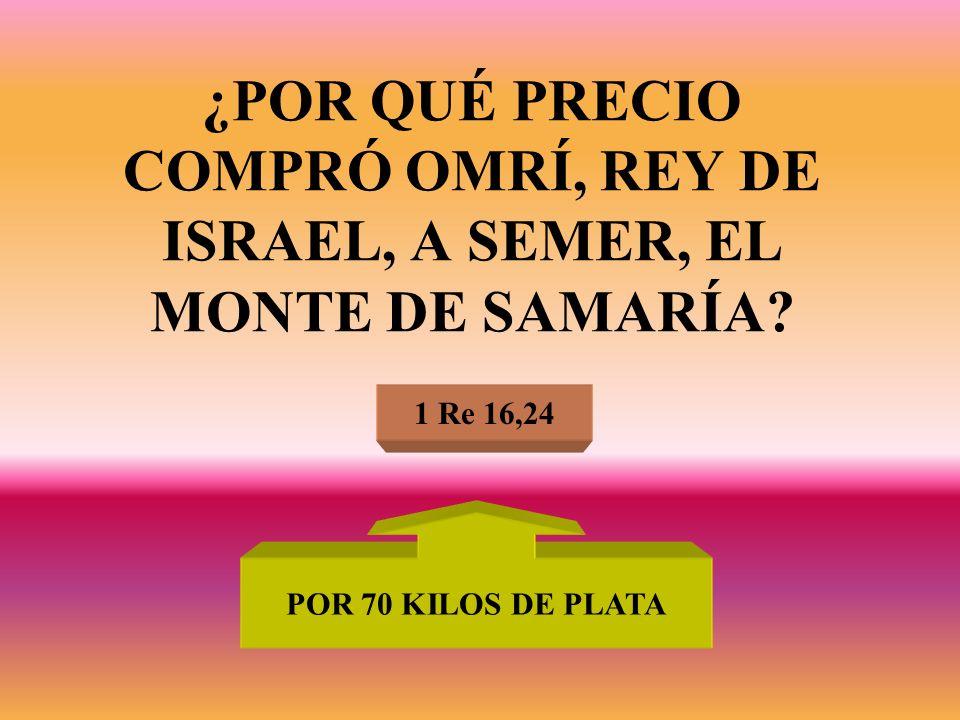 ¿POR QUÉ PRECIO COMPRÓ OMRÍ, REY DE ISRAEL, A SEMER, EL MONTE DE SAMARÍA? 1 Re 16,24 POR 70 KILOS DE PLATA