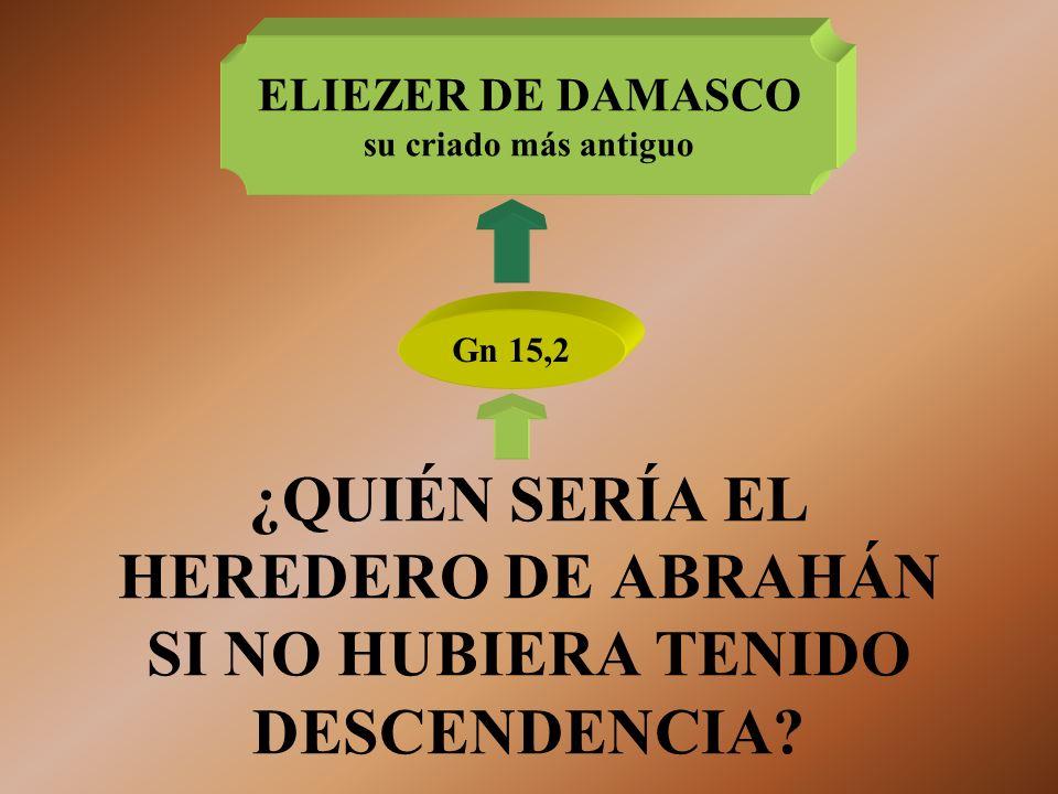 ¿QUIÉN SERÍA EL HEREDERO DE ABRAHÁN SI NO HUBIERA TENIDO DESCENDENCIA? Gn 15,2 ELIEZER DE DAMASCO su criado más antiguo