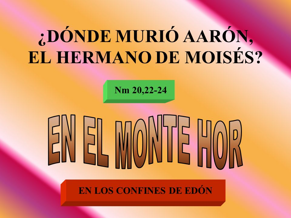 ¿DÓNDE MURIÓ AARÓN, EL HERMANO DE MOISÉS? Nm 20,22-24 EN LOS CONFINES DE EDÓN
