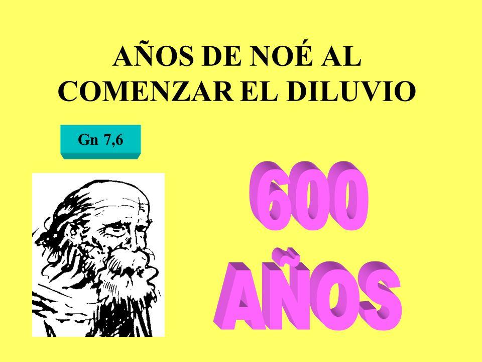 AÑOS DE NOÉ AL COMENZAR EL DILUVIO Gn 7,6