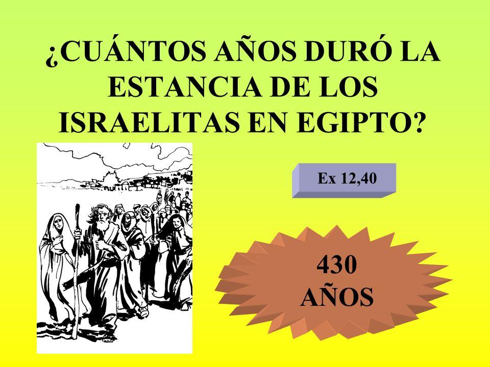 ¿CUÁNTOS AÑOS DURÓ LA ESTANCIA DE LOS ISRAELITAS EN EGIPTO? Ex 12,40 430 AÑOS