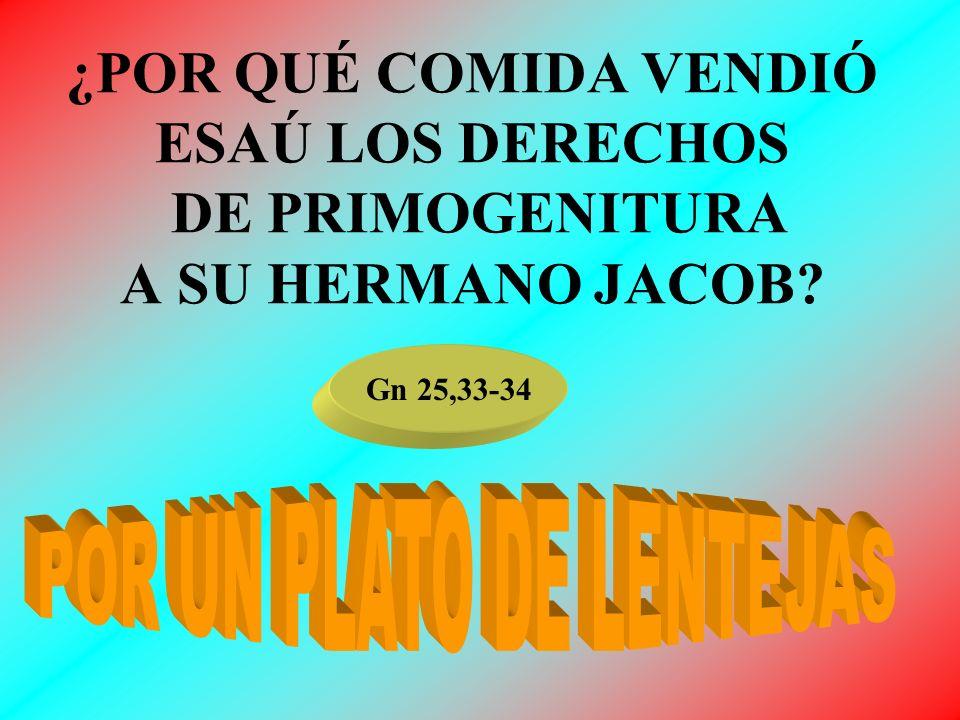 ¿POR QUÉ COMIDA VENDIÓ ESAÚ LOS DERECHOS DE PRIMOGENITURA A SU HERMANO JACOB? Gn 25,33-34