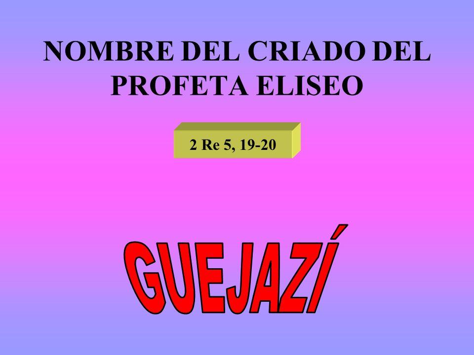 NOMBRE DEL CRIADO DEL PROFETA ELISEO 2 Re 5, 19-20