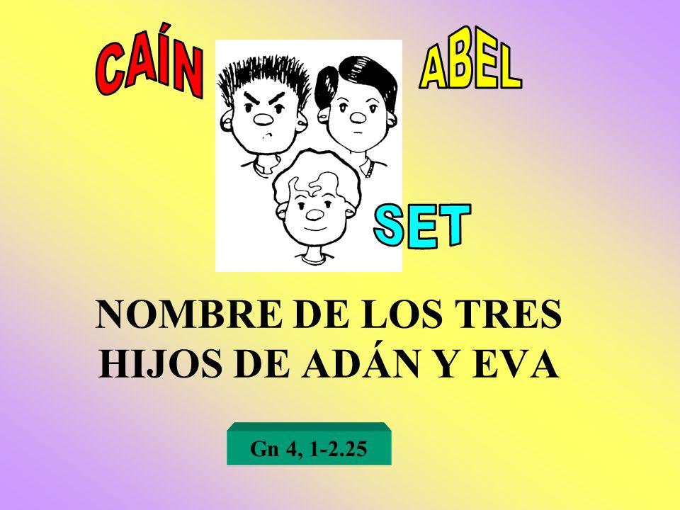 NOMBRE DE LOS TRES HIJOS DE ADÁN Y EVA Gn 4, 1-2.25