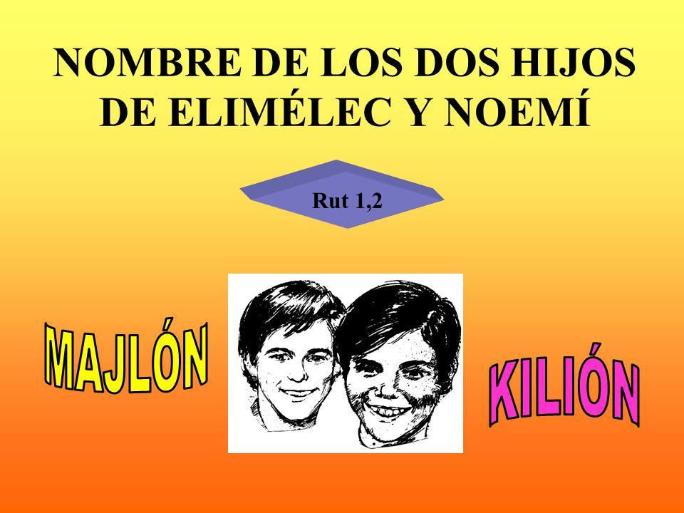 NOMBRE DE LOS DOS HIJOS DE ELIMÉLEC Y NOEMÍ Rut 1,2