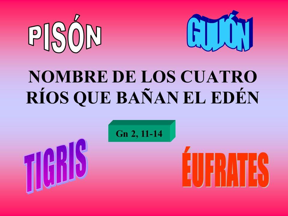 NOMBRE DE LOS CUATRO RÍOS QUE BAÑAN EL EDÉN Gn 2, 11-14