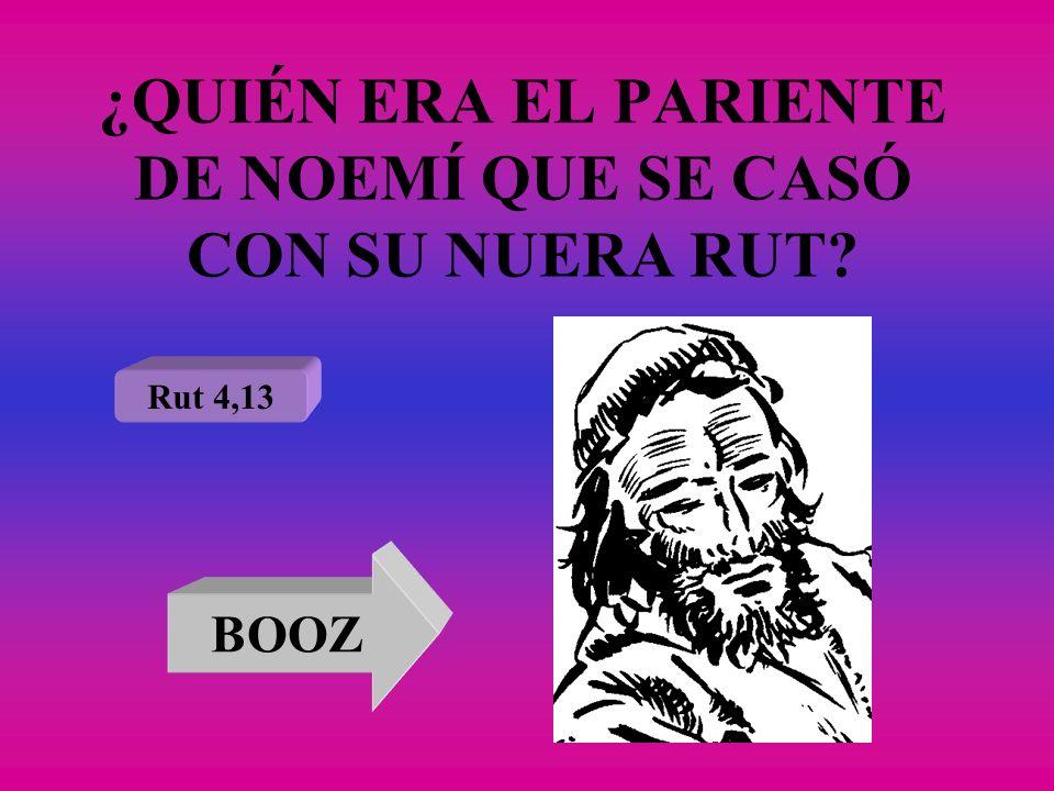 ¿QUIÉN ERA EL PARIENTE DE NOEMÍ QUE SE CASÓ CON SU NUERA RUT? Rut 4,13 BOOZ