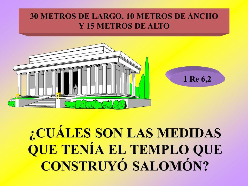 ¿CUÁLES SON LAS MEDIDAS QUE TENÍA EL TEMPLO QUE CONSTRUYÓ SALOMÓN? 1 Re 6,2 30 METROS DE LARGO, 10 METROS DE ANCHO Y 15 METROS DE ALTO