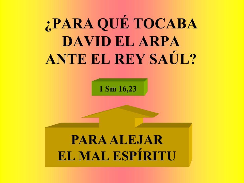 ¿PARA QUÉ TOCABA DAVID EL ARPA ANTE EL REY SAÚL? 1 Sm 16,23 PARA ALEJAR EL MAL ESPÍRITU