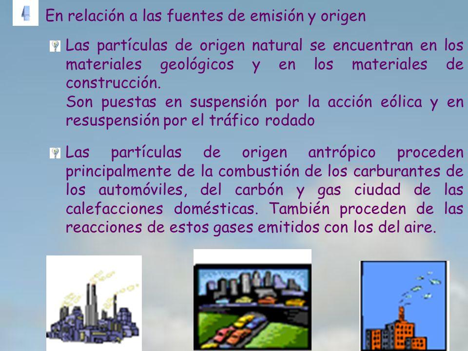 Las partículas de origen antrópico proceden principalmente de la combustión de los carburantes de los automóviles, del carbón y gas ciudad de las cale