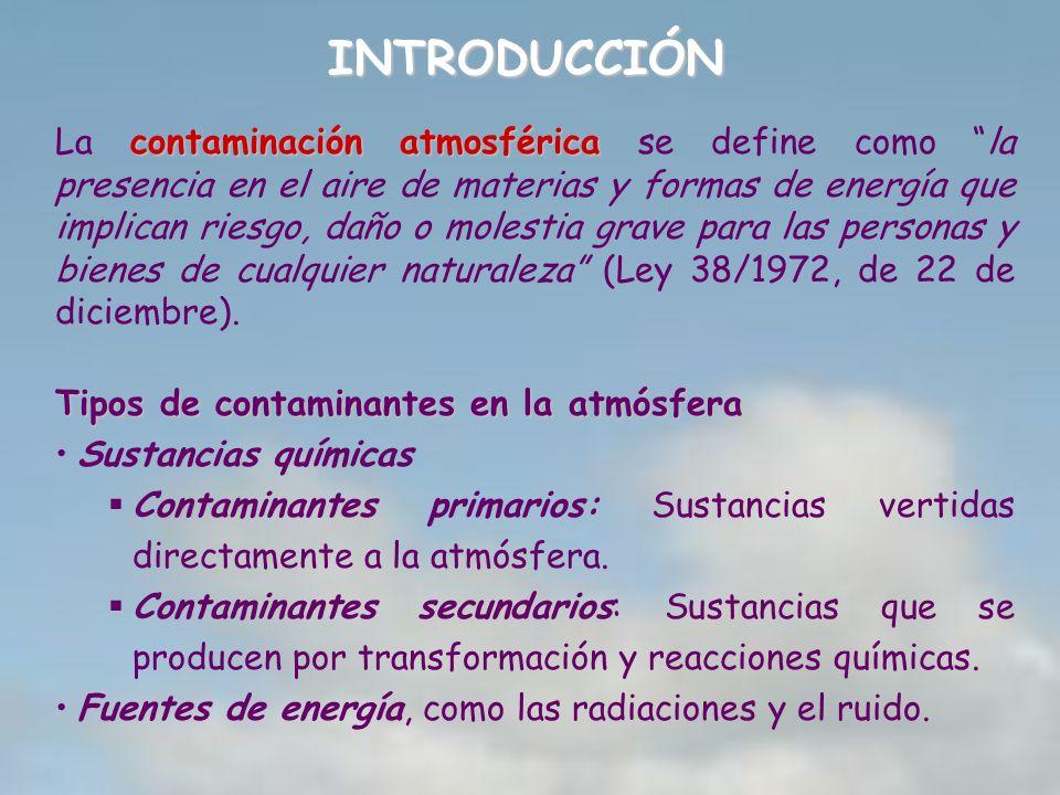 INTRODUCCIÓN contaminación atmosférica La contaminación atmosférica se define como la presencia en el aire de materias y formas de energía que implica