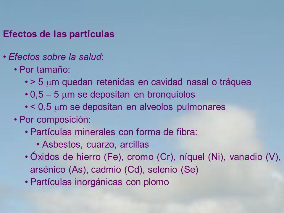Efectos de las partículas Efectos sobre la salud: Por tamaño: > 5 m quedan retenidas en cavidad nasal o tráquea 0,5 – 5 m se depositan en bronquiolos