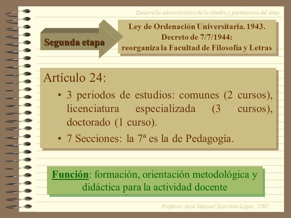 Artículo 24: 3 periodos de estudios: comunes (2 cursos), licenciatura especializada (3 cursos), doctorado (1 curso).