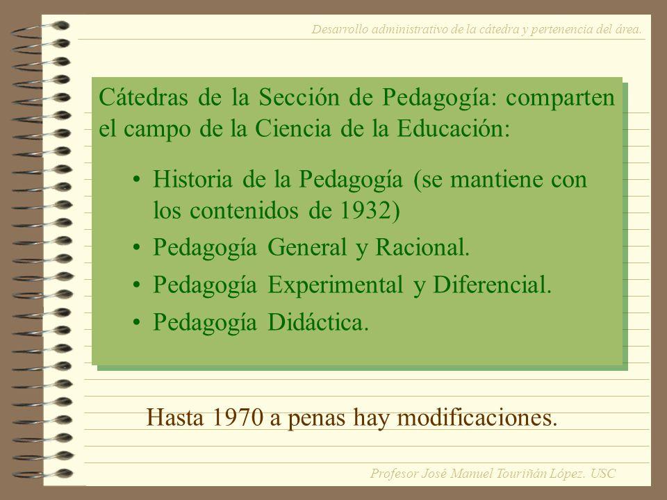 Cátedras de la Sección de Pedagogía: comparten el campo de la Ciencia de la Educación: Historia de la Pedagogía (se mantiene con los contenidos de 1932) Pedagogía General y Racional.