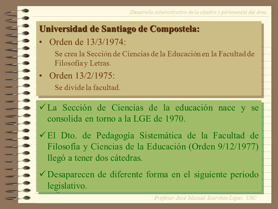 Universidad de Santiago de Compostela: Orden de 13/3/1974: Se crea la Sección de Ciencias de la Educación en la Facultad de Filosofía y Letras.