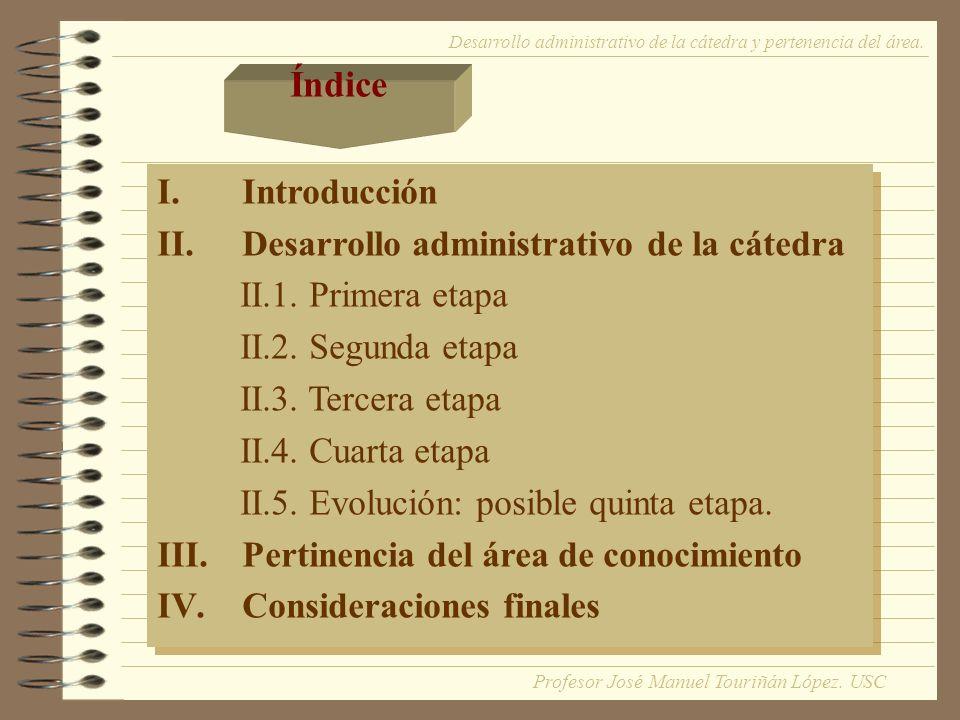I.Introducción Desarrollo administrativo de la cátedra y pertenencia del área.